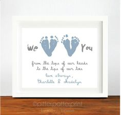 Fathers Day Gift from Twins - Personalized Gift for New Dad - We Love You Baby Footprint Art - Gift for Grandpa, Grandfather. $35.00, via Etsy.