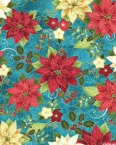Happy Holidays - Poinsettia Rhapsody - Dk Turquoise/Gold