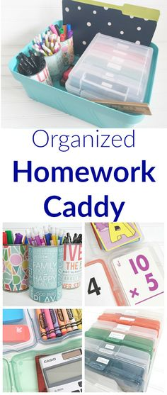 Cute idea to keep organized for homework time. Love that everything is in one place.