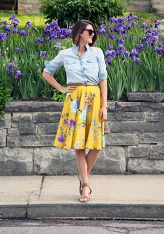 Perfect spring outfit: ModCloth yellow skirt