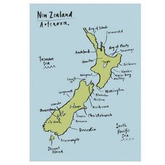 Unframed Print - Handrawn map of NZ