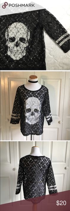 Black Lace Skull Top 3/4 sleeve boxy Lace skull top. Black with white design. Excellent condition, worn once. Express Tops