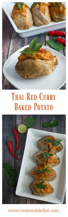 "Thai Red Curry Baked Potatoes is an ""East Meets West"" version of comfort food. Perfect fluffy baked potato topped with a creamy, rich Thai Red Curry with tender chicken and crunchy green beans."