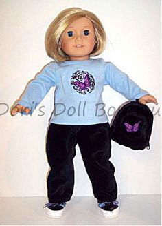 Doll Clothes fits 18 inch American Girl TOP, PANTS, BACKPACK, & SHOES