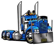 Big Truck Cartoon | Cartoon Big Rig Semi Truck T Shirt 9081 Kenworth Hauler…