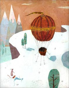 Girl walking to hot air balloon. Art print / illustration / wall art / watercolor painting / wall decor. By Lee White.