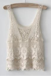Summer Days Crochet Lace Tank Top in Cream