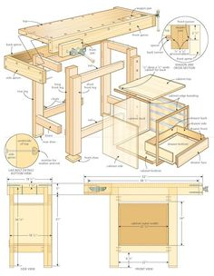 Plan for a small shop workenchworkbench_illo woodworking bench woodworking bench bench diy bench garage workbench bench plans Workbench Plans, Woodworking Workbench, Kids Woodworking, Garage Workbench, Workbench Organization, Woodworking Magazine, Small Workbench, Woodworking Workshop, Woodworking Furniture Plans