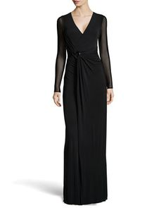 Long-Sleeve+Wrap+Stretch+Gown,+Black+by+Halston+Heritage+at+Neiman+Marcus+Last+Call.