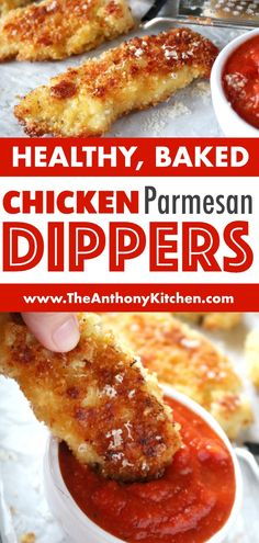 A kid-friendly dinner idea the whole family will love, even those little picky eaters! Try this recipe for parmesan crusted chicken tenders featuring chicken strips, panko breadcrumbs, and freshly grated Parmesan cheese. Don't forget marinara sauce on the Chicken Tender Recipes, Baked Chicken, Chicken Strip Recipes, Recipe Chicken, Parmesan Crusted Chicken Tenders Recipe, Healthy Meal Prep, Healthy Snacks, Healthy Eating, Picky Eaters Kids