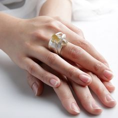 Insect Ring by Mirela Tufan (Quartz, Sterling Silver and Brass)