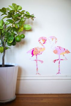 DIY flamingo wall stickers with removable wallpaper
