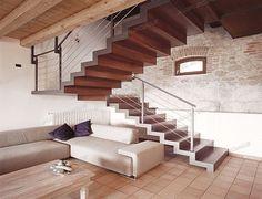 escalier demi tournant à limon latéral (structure métallique et marches en bois) ELITE STRIKE FULL Alfa Scale