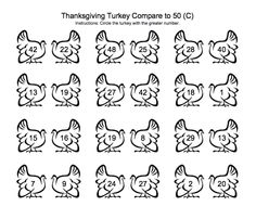 Greater than Less than Turkeys math sheet for Thanksgiving