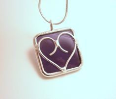 Purple stained glass HEART pendant by BelloGlass on Etsy