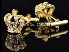 Stainless Steel Golden Crown Round Cufflinks #cufflinks