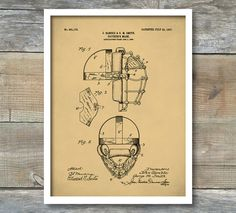 Patent Print, Vintage Catchers Mask, Patent Poster, Baseball Decor, Sports Wall Art, Coach Gift, Baseball Coach.  This is a print of the patent drawing for a vintage Baseball Catchers Mask patent in 1907. The original patent has been cleaned up and enhanced to create an attractive display piece for your home or office. This is a great way to put your interests and hobbies on display. This patent poster is printed using quality archival inks on ultra premium mat archival paper with a smooth…