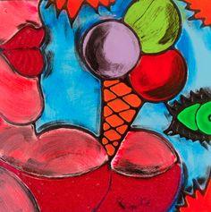 TENTAZIONI #07 - 40x40 cm. - Acrilic on canvas  #ICECREAM #TENTAZIONI #TEMPTATIONS