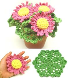 This pattern set includes daisy shaped scrubbies and leaf inspired cleaning cloths that can be displayed in a cute flower pot to resemble a pot of daisies. The daisy scrubbies are crocheted with ordin