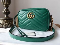 9987408ab49b Gucci GG Marmont Matelassé Camera Bag in Emerald Green Calfskin - SOLD