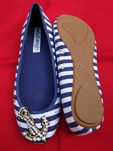 Naughty Monkey Women's Navy & White Stripe Nautical Anchor Ballet Flat Size 8.5 | eBay Adorable!