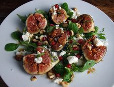 figs, feta, and hazelnuts with pomegranate molasses. (via helengraves)