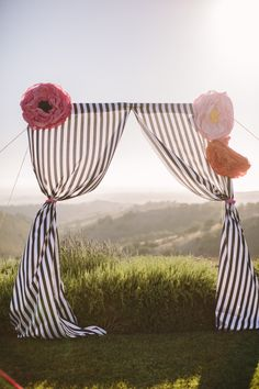Backdrop with navy striped curtains and big paper flowers. Davia Lee Events.