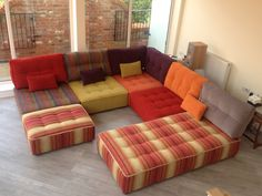 Bespoke chaise with standard Tapas modules.  Combination of different Warwick Fabrics Marco shades with Harlequin's much loved Blaze & Chevron from their Momentum 3 collection.