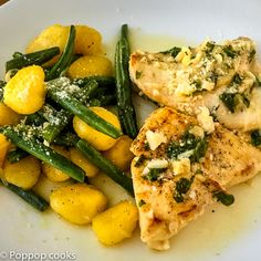 Garlic Chicken string beans and gnocchi. Quick, easy and delicious.