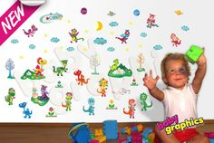 Happy Dragons removable wall stickers / decals scene - by babygraphics via Etsy