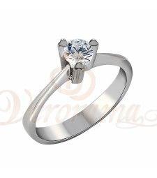 Μονόπετρo δαχτυλίδι Κ18 λευκόχρυσο με διαμάντι κοπής brilliant - MBR_054