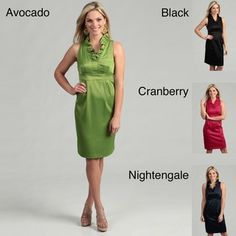 @Overstock - Sleek stretch satin fashions this London Times dress with a ruffled V-neck. An inset waist lends shapely fit to the sleeveless dress.http://www.overstock.com/Clothing-Shoes/London-Times-Womens-Sleeveless-Ruffled-Satin-Dress/5040944/product.html?CID=214117 $29.99