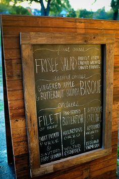 our chalkboard menu is made from real salvaged barn wood! photo by Joy Moody