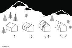 OFIS architects e AKT II, Rifugio Alpino, Skuta, Slovenia. Modellazione volumetrica