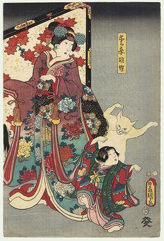 Dancing Cat and Child by Toyokuni III/Kunisada (1786 - 1864)