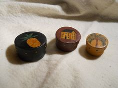Hand Painted Miniature Primitive Shaker Boxes by VintageTrimmings