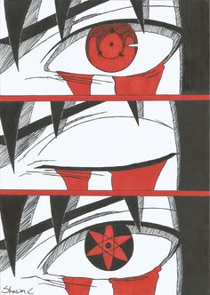 A drawing i did of Sasuke from his normal Sharingan to his Mangeyou Sharingan ^^