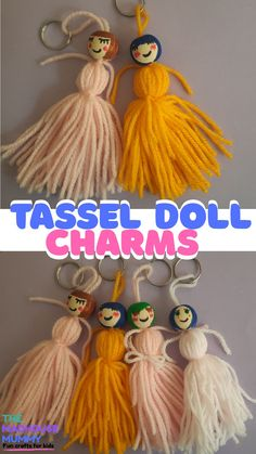 Easy guide on how to make yarn tassel dolls. Diy bag charm/keyring craft best suited for children aged six and upwards. #craftsforkids #handmadecharmcraft #handmadegift #howtomakeyarntassels #yarncraftsforkids