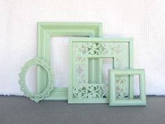 pistachio mint ornate frames set of 4 upcycled painted open frames mint nursery mint coral - Mint Picture Frames