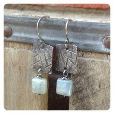 Textured Silver and Aquamarine Dangle Earrings by jenjems on Etsy, $30.00