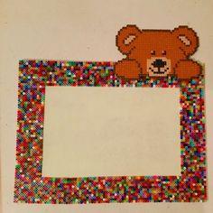 Teddy photo frame hama mini beads by krmnsm