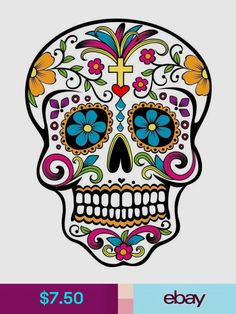 Halloween Sugar Skull Day of the Dead Edible Frosting Sheet Cake Cupcake Topper Baking Supplies Jenuine Crafts - My Sugar Skulls Sugar Skull Halloween, Nail Art Halloween, Sugar Skull Art, Sugar Skulls, Sugar Skull Design, Halloween 2016, Halloween Ideas, Candy Skulls, Catrina Tattoo