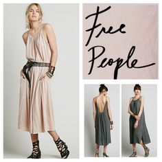 """Free People Maxi Dress.  NWT. Free People Maxi Dress, 50% polyester, 44% cotton, 6% rayon, machine washable, 24"""" armpit to armpit (48""""""""all around) 49"""" length, 9"""" side slits, raw hemline, scoop neck, low back, measurements are approx.  No Trades... Free People Dresses Maxi"""