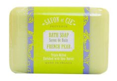 Savon et Cie Triple Milled Soap bar Made in France With Organic Shea Butter Green Tea Pack of 3 -- Find out more about the great product at the image link. (This is an affiliate link) Organic Makeup, Organic Skin Care, Exfoliating Soap, Unrefined Shea Butter, Body Cleanser, Soap Packaging, Bath Soap, Bath And Body, Pear
