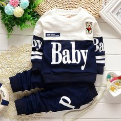 2015 Fashion Autumn New&Hot Baby Boy clothing High Quality Children Clothing with lovely bear&letter Cute Baby Boy Outfits, Boys Summer Outfits, Cute Outfits For Kids, Toddler Outfits, Newborn Boy Clothes, Kids Clothes Boys, Newborn Girl Outfits, Baby Boy Baptism Outfit, Baby Boy Dress