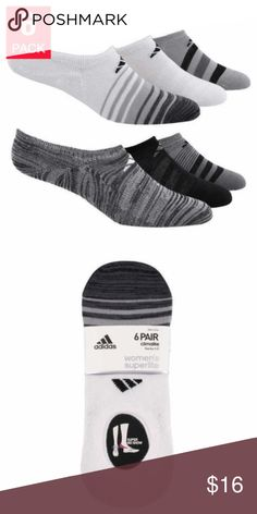 Adidas Ladies' 6-pair Climalite Superlite No-show Adidas  Ladies' Climalite Superlite  No-show Socks 6-pairs  Colors: Black and Gray Climate Technology, Superior Comfort, Lightweight  Features:  Pack includes (6) separate pairs Super no show Climalite yarns wick away moisture Hand linked toe seam for superior comfort Lightweight Made in China  Content:  97% Polyester 2% Spandex 1% Natural Latex Rubber  Sizing: One size Fits shoe size 5-10 adidas Accessories Hosiery & Socks
