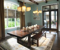 Holiday Decor: Thanksgiving Arrangement Ideas And Hardwood Flooring In Traditional Dining Room Design Ideas With Light Blue Walls And Trestle Dining Table Also Arch Windows Dining Room Windows, Dining Room Blue, Dining Room Design, Dining Rooms, Dining Set, Kitchen Dining, Dining Tables, Kitchen Decor, Console