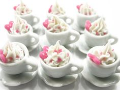 Dollhouse Miniature Drink Beverage 9 Coffee Hot Chocolate Pink Heart Size M Charms Deco Supply - 7705