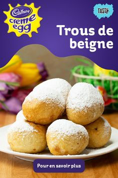 Easter just got a whole lot better with these yummy CADBURY CREME EGG doughnut holes. Creme Eggs, Donut Recipes, Baking Recipes, Dessert Recipes, Delicious Desserts, Yummy Food, Tasty, Easter Recipes, Holiday Recipes