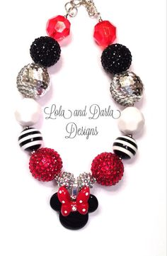 Minnie Mouse necklace chunky necklace bubblegum necklace Mickey Mouse girls necklace birthday necklace best friend necklace via Etsy